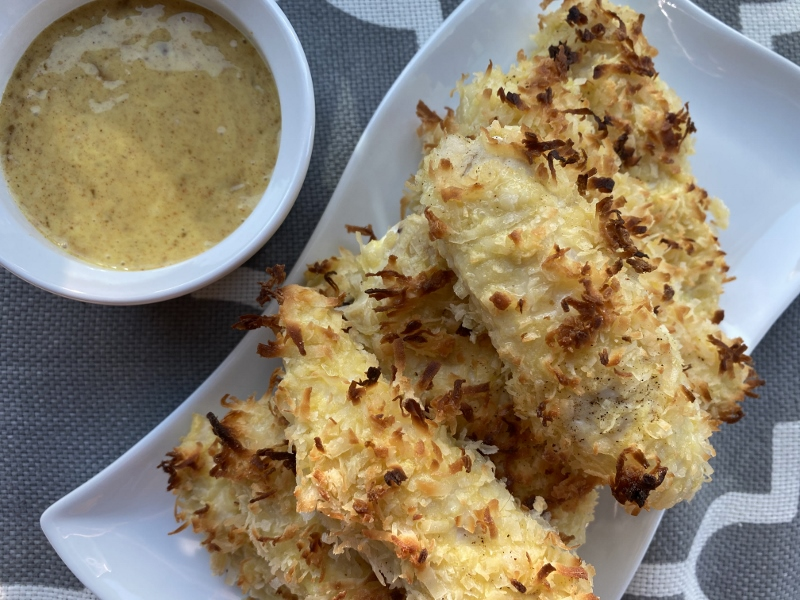 Coconut Crusted Chicken Tenders with Marmalade Mustard