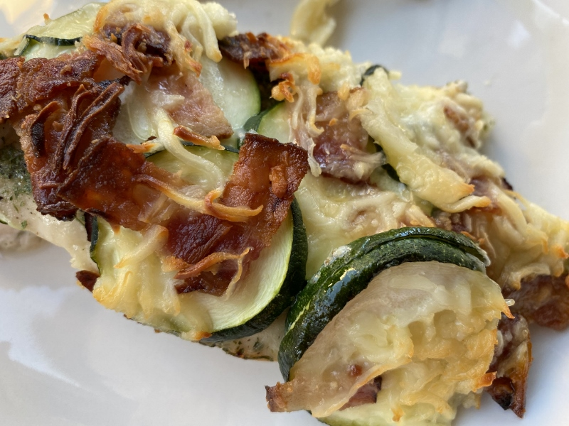 Baked Chicken Zucchini with Bacon