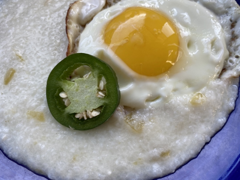 Roasted Hatch Chile Cheese Grits with Fried Egg