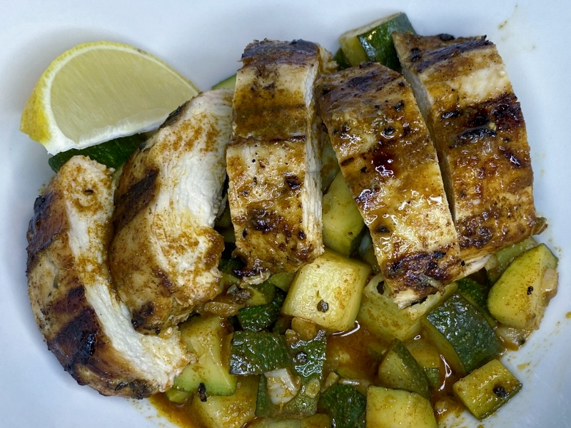 Asado Chicken and Sautéed Lemon Zucchini