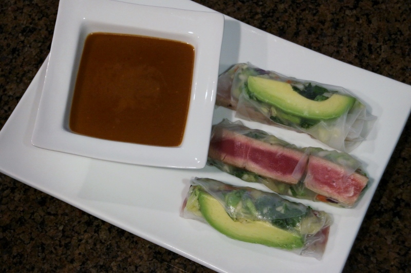 Tuna Spring Rolls with Peanut Sauce
