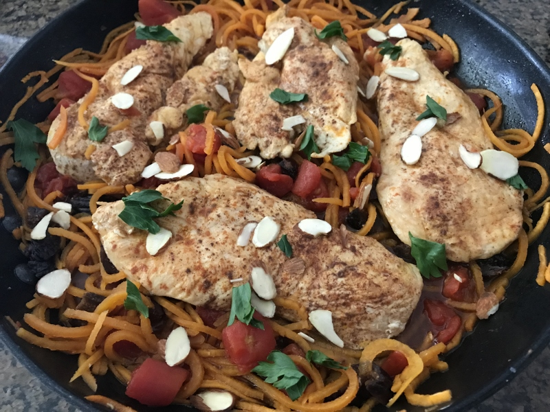 North African Chicken Skillet with Sweet Potato Noodles