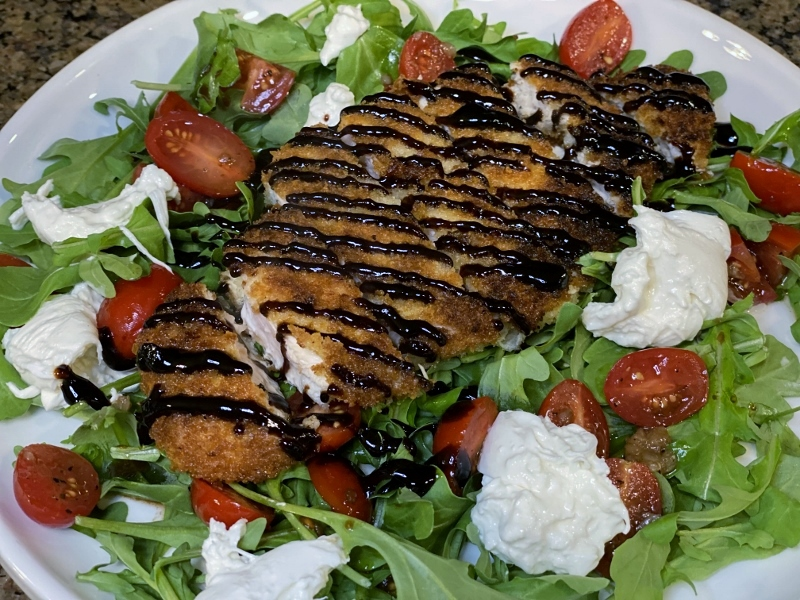 Chicken Milanese Burrata Salad